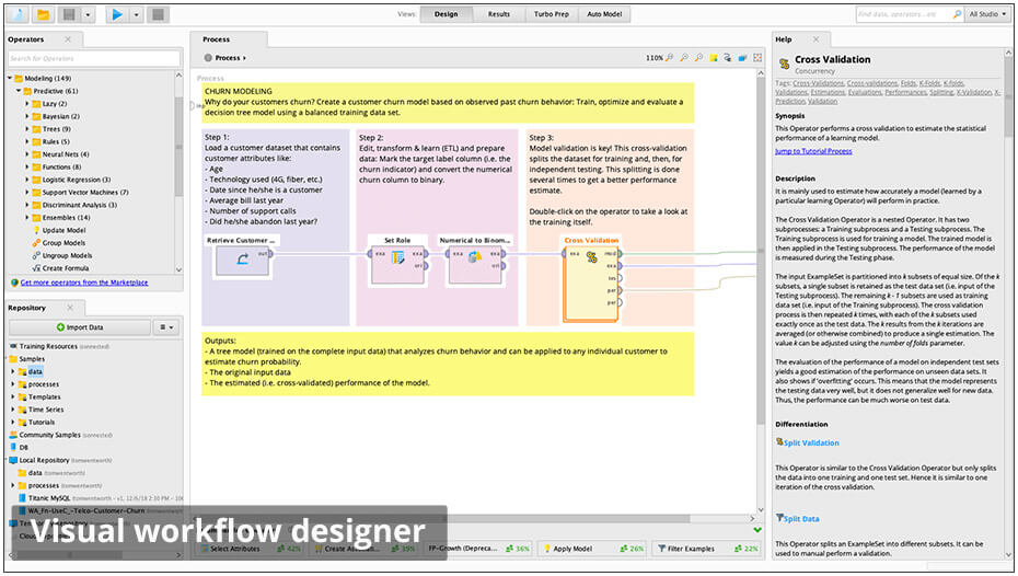 RapidMiner görsel iş akış tasarımcısı